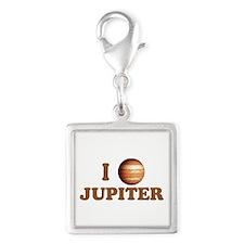 I Love Jupiter Silver Square Charm