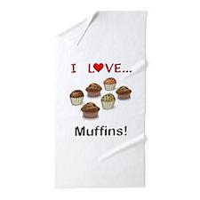 I Love Muffins Beach Towel
