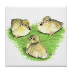 Snowy Mallard Ducklings Tile Coaster