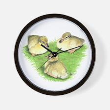 Snowy Mallard Ducklings Wall Clock