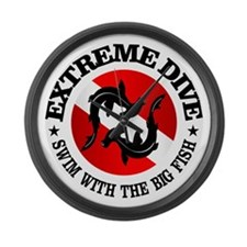 Extreme Dive (Hammerheads) Large Wall Clock