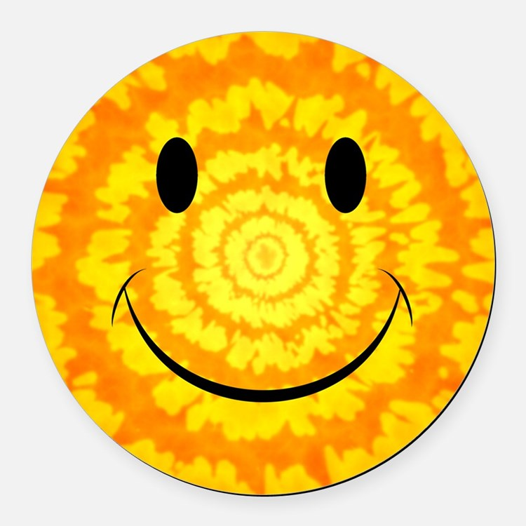 Tie Dye Smiley Face Round Car Magnet