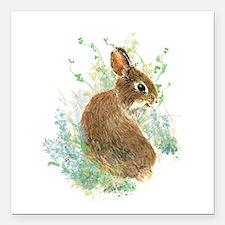 Cute Watercolor Bunny Rabbit Pet Animal Square Car