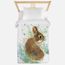 Cute Watercolor Bunny Rabbit Pet Animal Twin Duvet