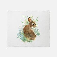 Cute Watercolor Bunny Rabbit Pet Animal Throw Blan
