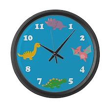 Dinosaurs-Clock-Blue Large Wall Clock