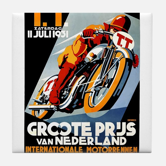 1931 Netherlands Grand Prix Racing Poster Tile Coa