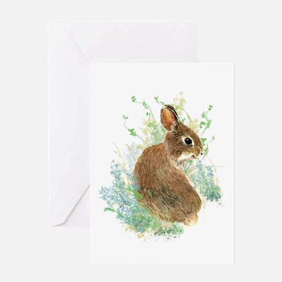 Cute Watercolor Bunny Rabbit Pet Animal Greeting C