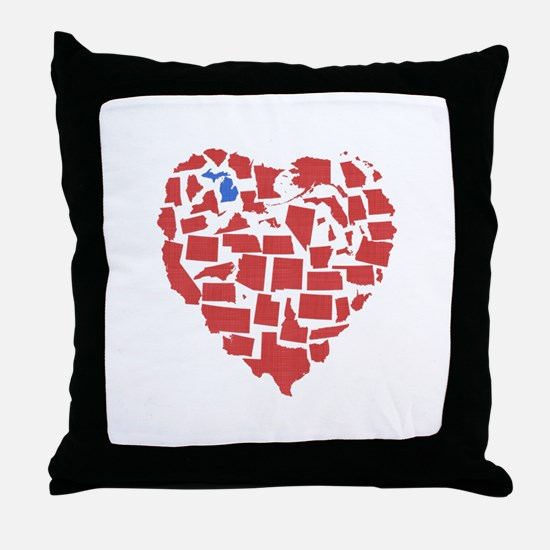 Michigan Heart Throw Pillow