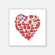 """Michigan Heart Square Sticker 3"""" x 3"""""""