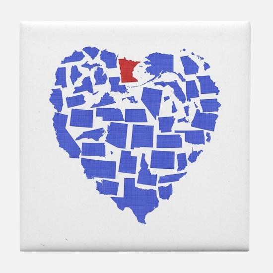 Minnesota Heart Tile Coaster