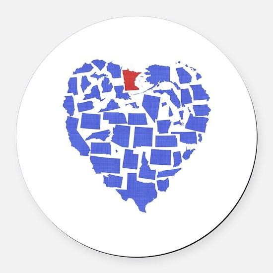 Minnesota Heart Round Car Magnet
