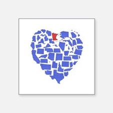 "Minnesota Heart Square Sticker 3"" x 3"""