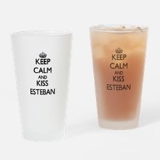 Keep Calm and Kiss Esteban Drinking Glass