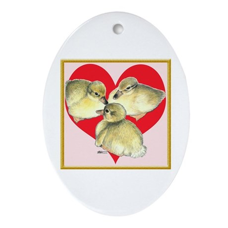 I Love Ducklings! Oval Ornament