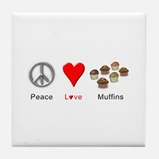 Peace Love Muffins Tile Coaster
