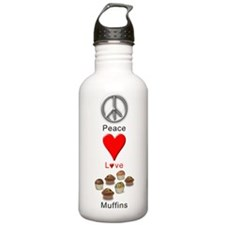Peace Love Muffins Water Bottle