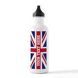 British flag Large Stainless Steel Water Bottles (1 L/ 33 oz)