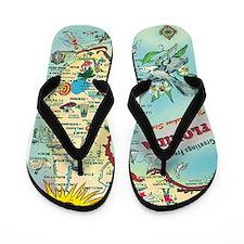 Vintage Florida Map Flip Flops