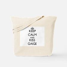 Keep Calm and Kiss Gaige Tote Bag