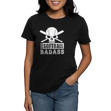 Softball Badass in white Tee