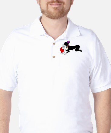 Boston Terrier Christmas Golf Shirt