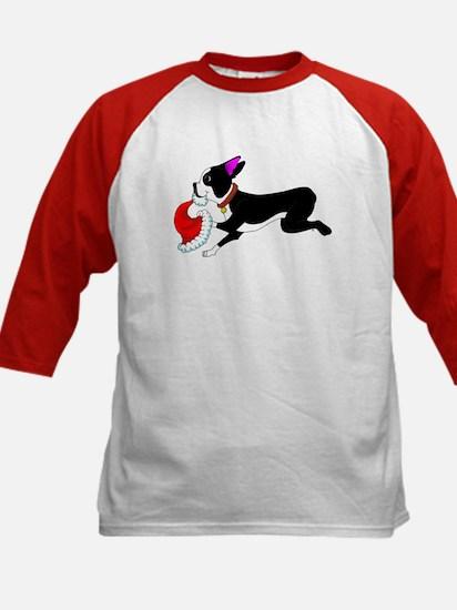 Boston Terrier Christmas Kids Baseball Jersey