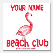 "Custom Beach Club Square Car Magnet 3"" x 3"""
