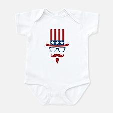 Uncle Sam Glasses And Mustache Infant Bodysuit