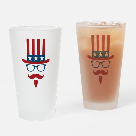 Uncle Sam Glasses And Mustache Drinking Glass