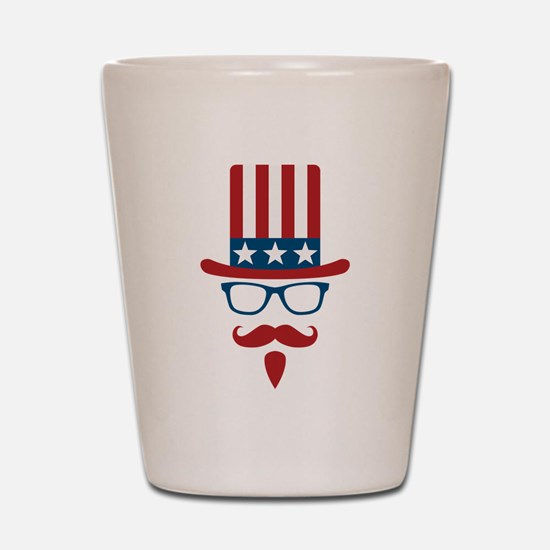 Uncle Sam Glasses And Mustache Shot Glass