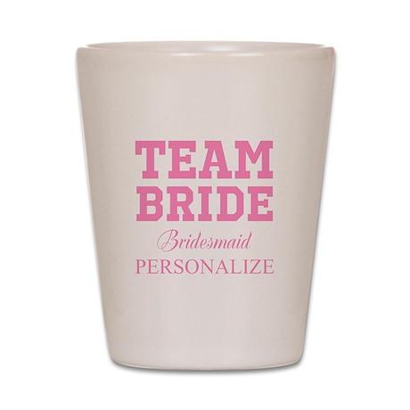 team bride wedding shot glass