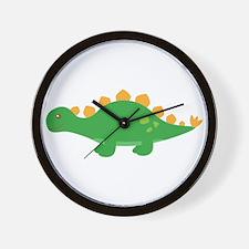 Cute Green Stegosaurus Dinosaur Wall Clock