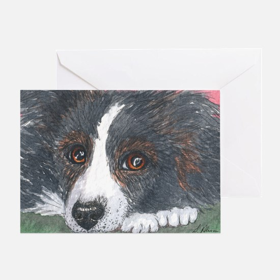 Thoughtful Border Collie dog Greeting Cards