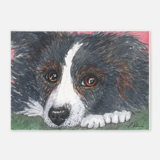 Thoughtful Border Collie dog 5'x7'Area Rug