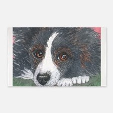 Thoughtful Border Collie dog 3'x5' Area Rug