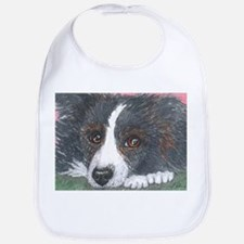 Thoughtful Border Collie dog Bib