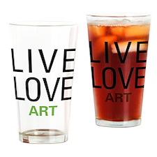 Live Love Art Drinking Glass