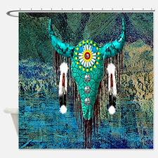 Turquoise Buffalo Shower Curtain