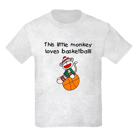 Little Monkey Loves Basketball Kids Light T-Shirt