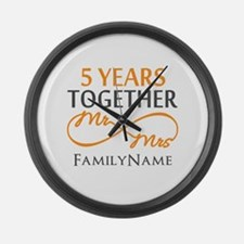 5th wedding anniversary Large Wall Clock