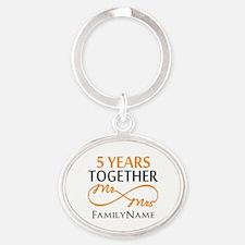 5th wedding anniversary Oval Keychain