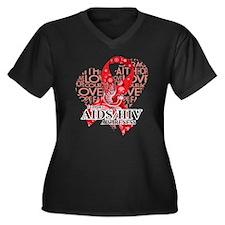 AIDS HIV Love Hope Bird Plus Size T-Shirt