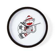 Sock Monkey Soccer Wall Clock