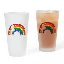 Retro Rainbow Unicorn Drinking Glass