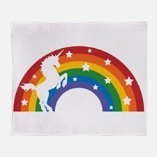 Retro Rainbow Unicorn Throw Blanket