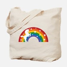 Retro Rainbow Unicorn Tote Bag