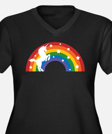 Retro Rainbow Unicorn Plus Size T-Shirt