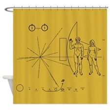 Pioneer Space Plaque Shower Curtain