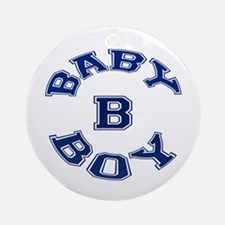 Multiple Baby Boy Baby B Announcement Ornament (Ro